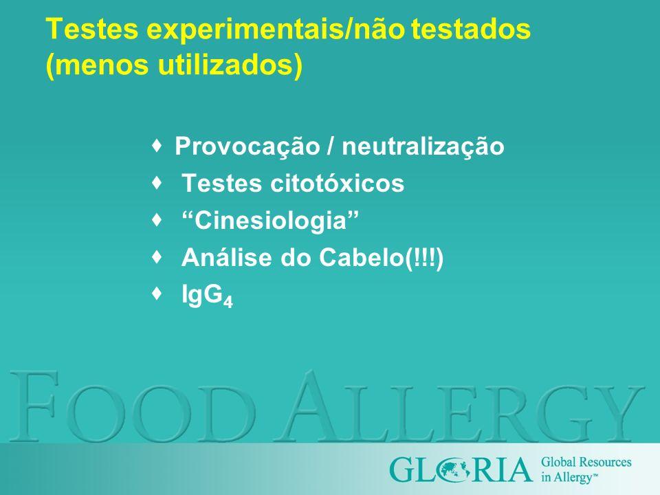 Testes experimentais/não testados (menos utilizados)