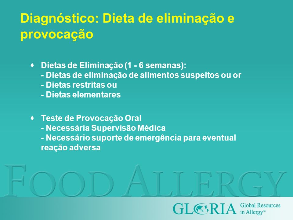 Diagnóstico: Dieta de eliminação e provocação