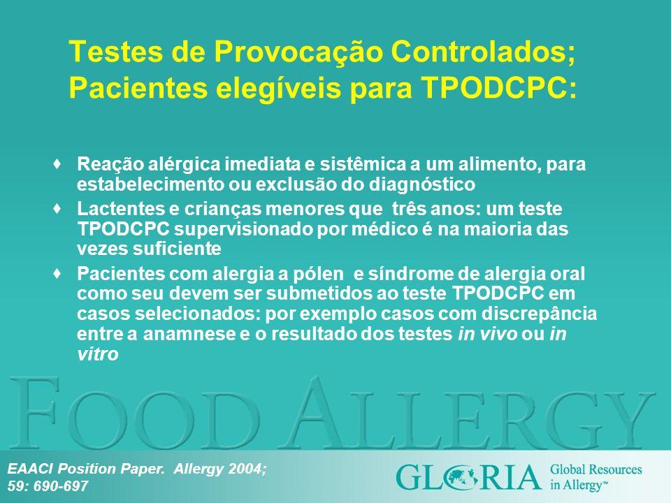 Testes de Provocação Controlados; Pacientes elegíveis para TPODCPC:
