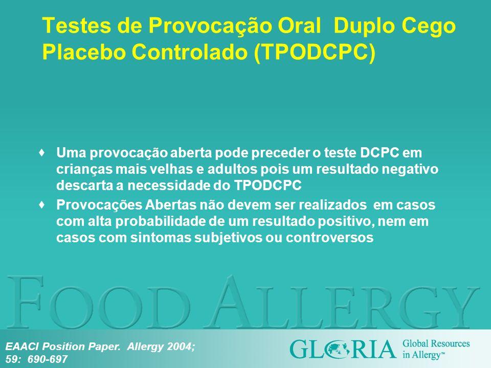 Testes de Provocação Oral Duplo Cego Placebo Controlado (TPODCPC)