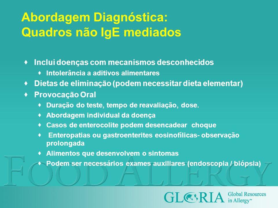 Abordagem Diagnóstica: Quadros não IgE mediados