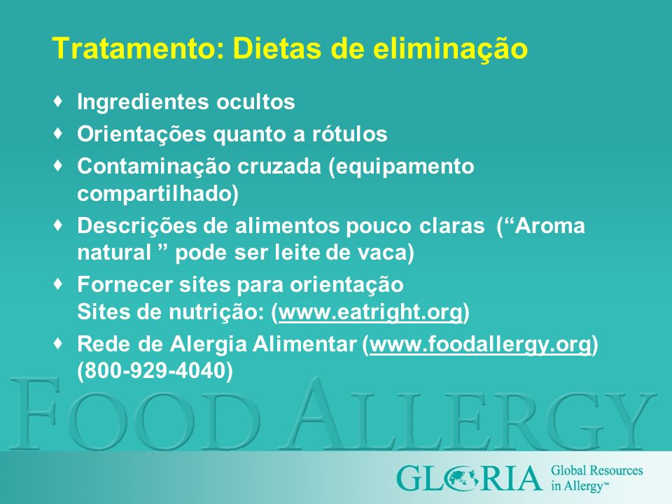 Tratamento: Dietas de eliminação