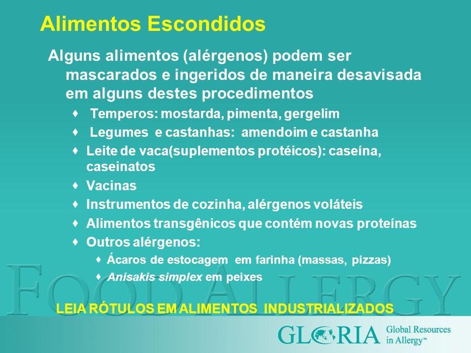 Alimentos EscondidosAlguns alimentos (alérgenos) podem ser mascarados e ingeridos de maneira desavisada em alguns destes procedimentos.