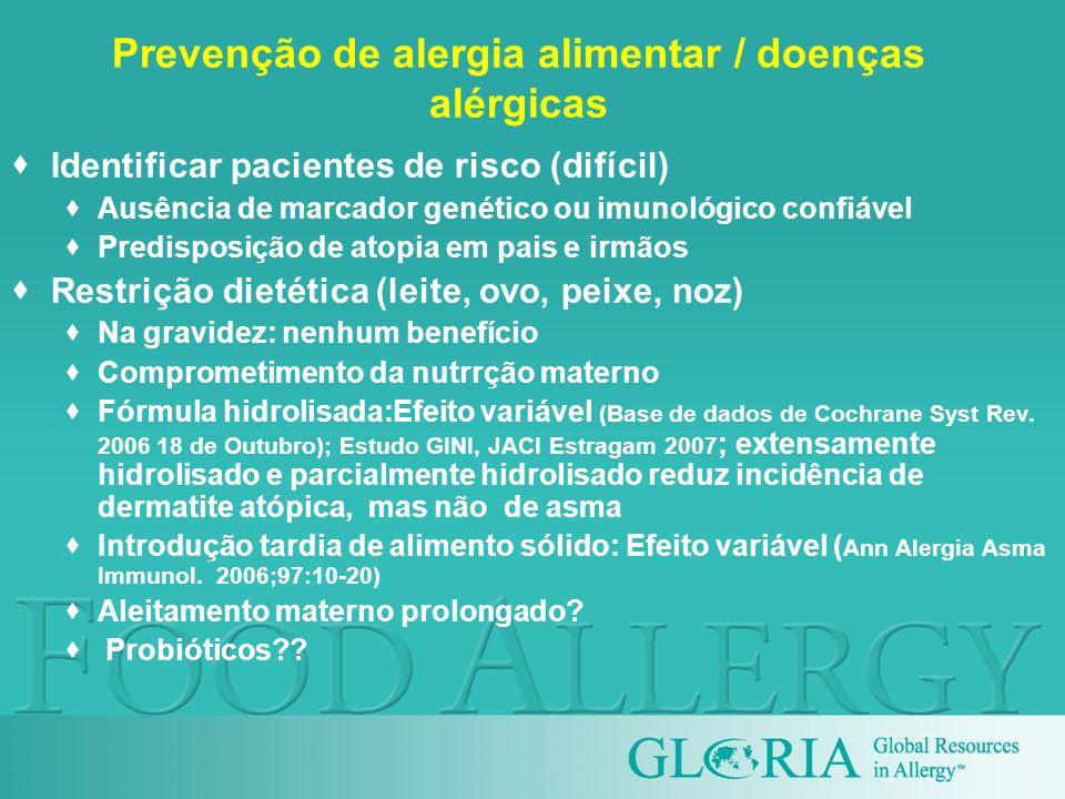 Prevenção de alergia alimentar / doenças alérgicas