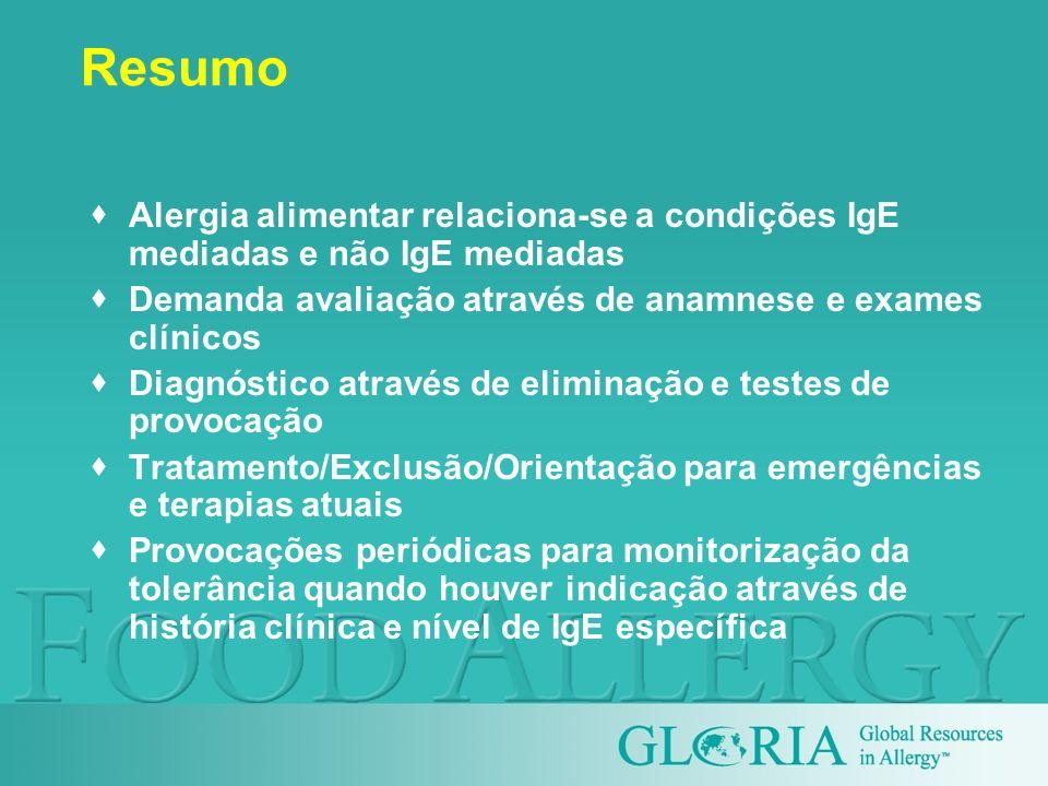 ResumoAlergia alimentar relaciona-se a condições IgE mediadas e não IgE mediadas. Demanda avaliação através de anamnese e exames clínicos.