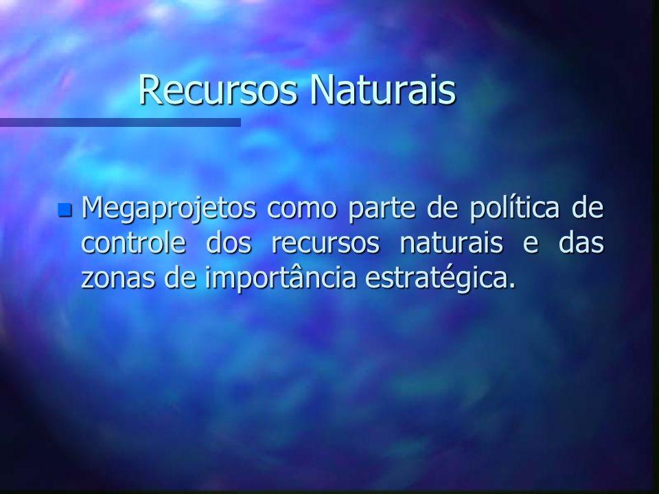 Recursos NaturaisMegaprojetos como parte de política de controle dos recursos naturais e das zonas de importância estratégica.