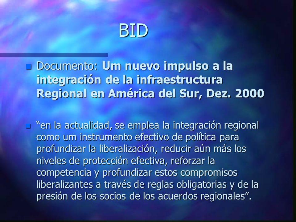 BIDDocumento: Um nuevo impulso a la integración de la infraestructura Regional en América del Sur, Dez. 2000.