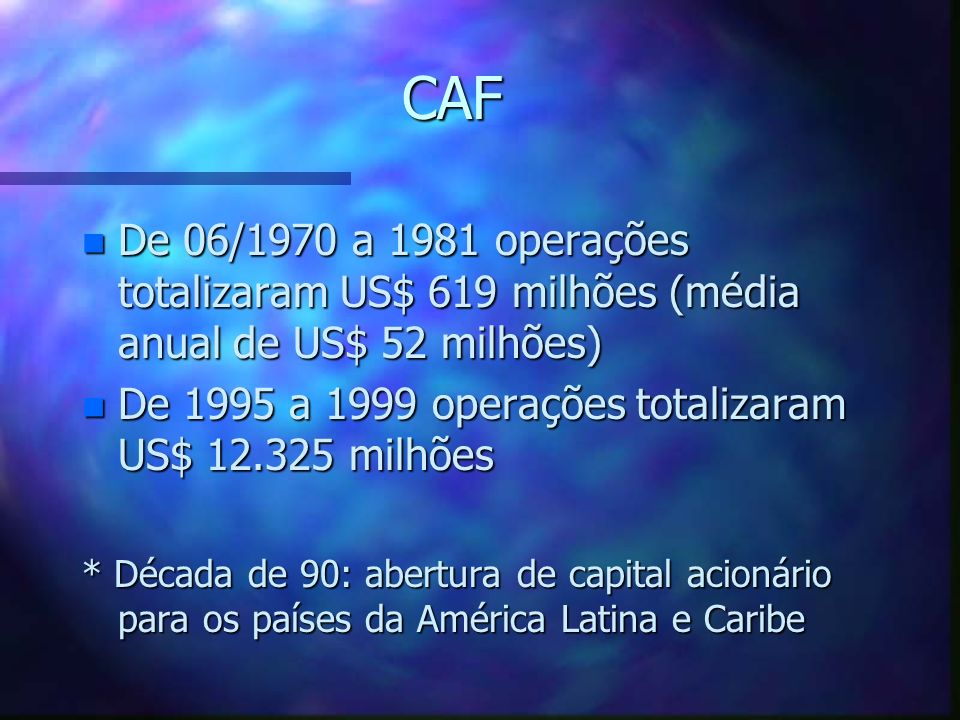 CAFDe 06/1970 a 1981 operações totalizaram US$ 619 milhões (média anual de US$ 52 milhões) De 1995 a 1999 operações totalizaram US$ 12.325 milhões.