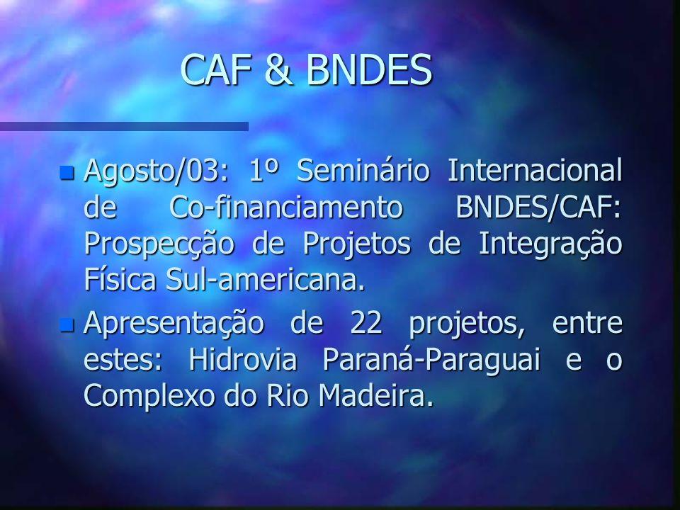 CAF & BNDESAgosto/03: 1º Seminário Internacional de Co-financiamento BNDES/CAF: Prospecção de Projetos de Integração Física Sul-americana.
