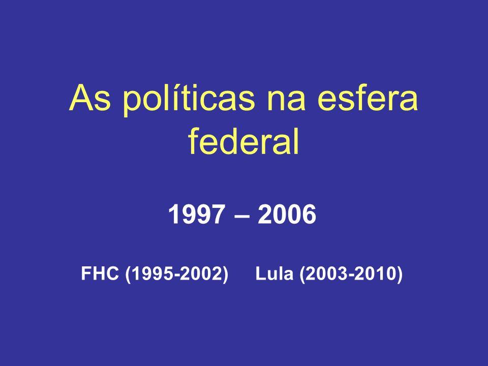 As políticas na esfera federal