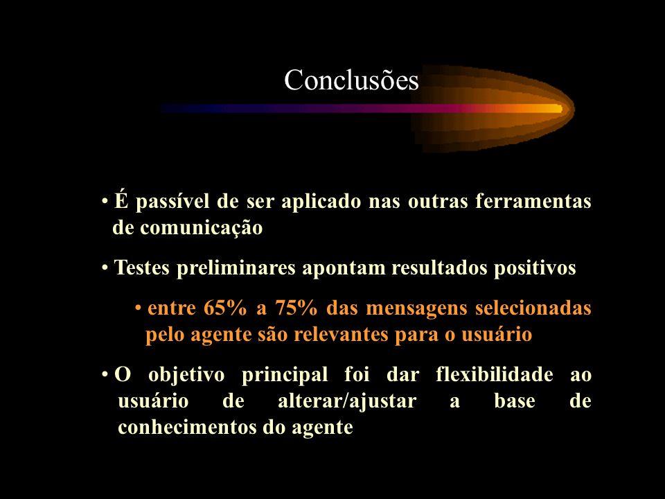 Conclusões É passível de ser aplicado nas outras ferramentas de comunicação. Testes preliminares apontam resultados positivos.