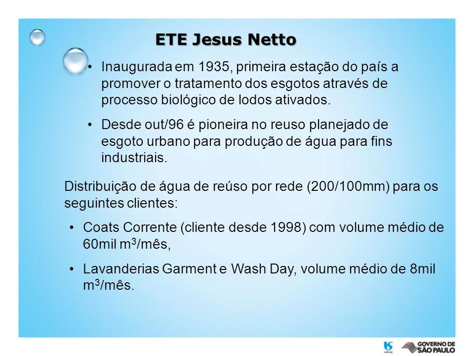 ETE Jesus Netto Inaugurada em 1935, primeira estação do país a promover o tratamento dos esgotos através de processo biológico de lodos ativados.