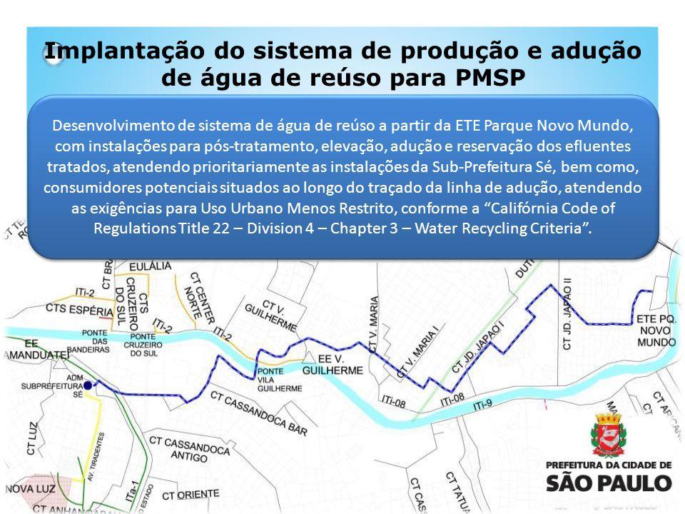 Implantação do sistema de produção e adução de água de reúso para PMSP