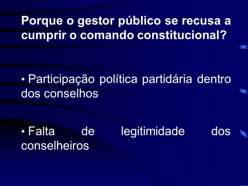 Porque o gestor público se recusa a cumprir o comando constitucional
