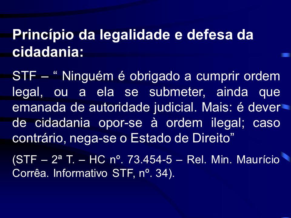 Princípio da legalidade e defesa da cidadania: