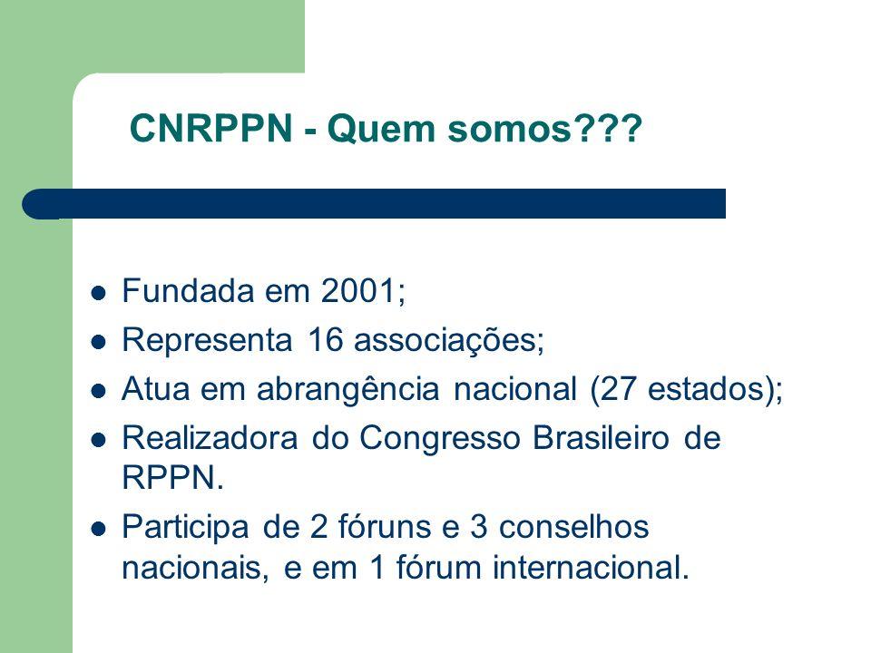 CNRPPN - Quem somos Fundada em 2001; Representa 16 associações;