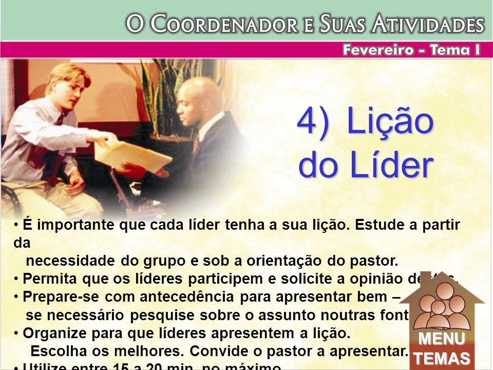 4) Lição do Líder MENU TEMAS