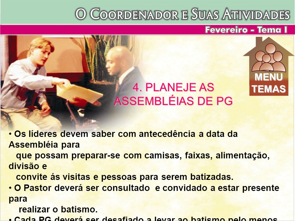 4. PLANEJE AS ASSEMBLÉIAS DE PG