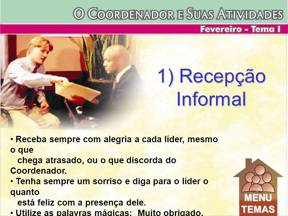 1) Recepção Informal MENU TEMAS