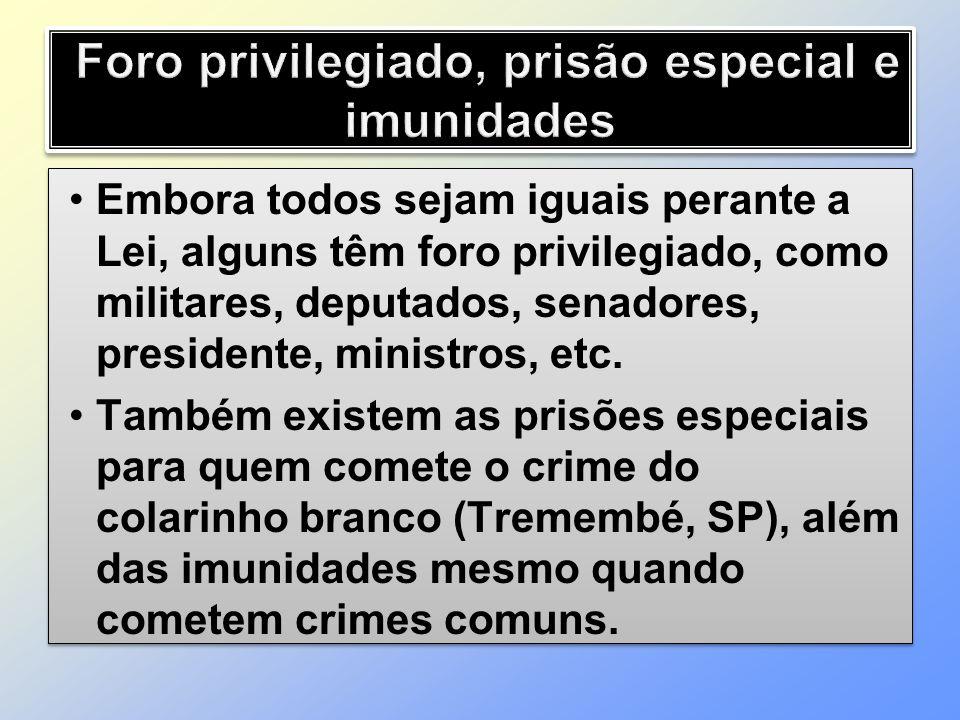 Foro privilegiado, prisão especial e imunidades