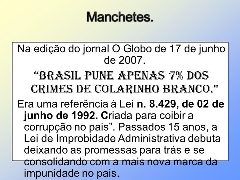 Manchetes. Brasil pune apenas 7% dos crimes de colarinho branco.