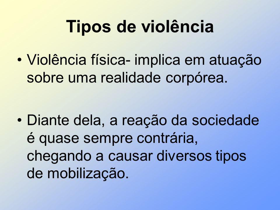 Tipos de violência Violência física- implica em atuação sobre uma realidade corpórea.