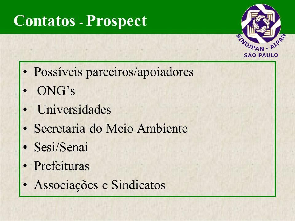 Contatos - Prospect Possíveis parceiros/apoiadores ONG's Universidades