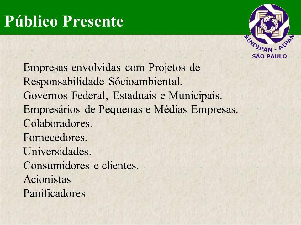 Público PresenteEmpresas envolvidas com Projetos de Responsabilidade Sócioambiental. Governos Federal, Estaduais e Municipais.