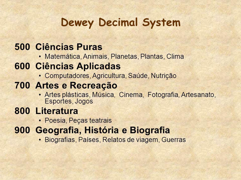 Dewey Decimal System 500 Ciências Puras 600 Ciências Aplicadas