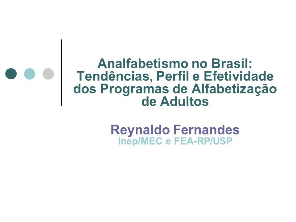 Analfabetismo no Brasil: Tendências, Perfil e Efetividade dos Programas de Alfabetização de Adultos Reynaldo Fernandes Inep/MEC e FEA-RP/USP
