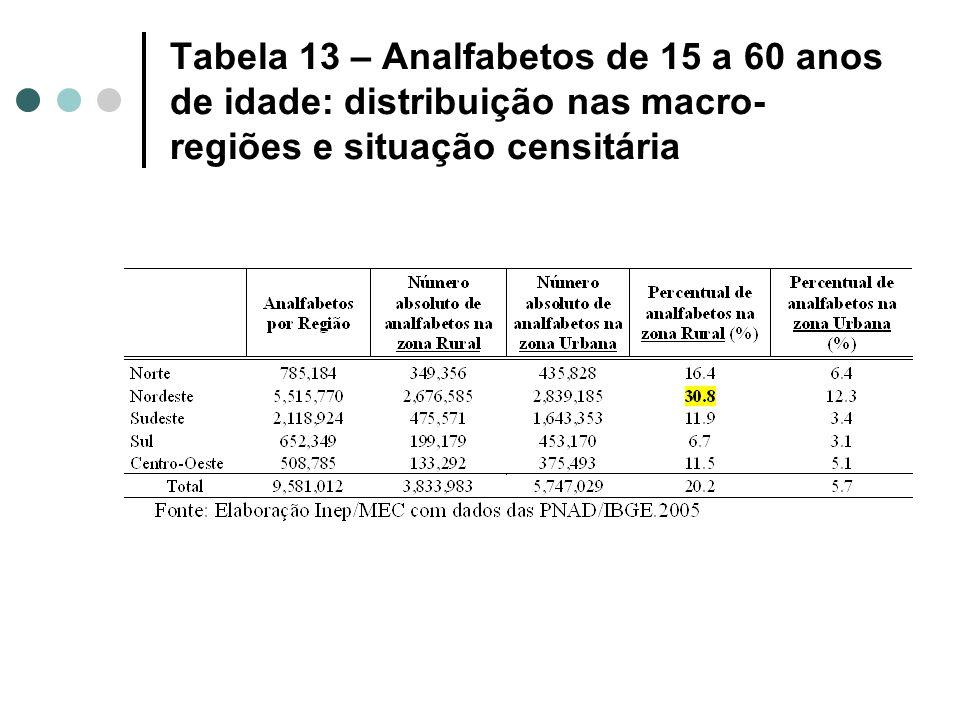 Tabela 13 – Analfabetos de 15 a 60 anos de idade: distribuição nas macro-regiões e situação censitária