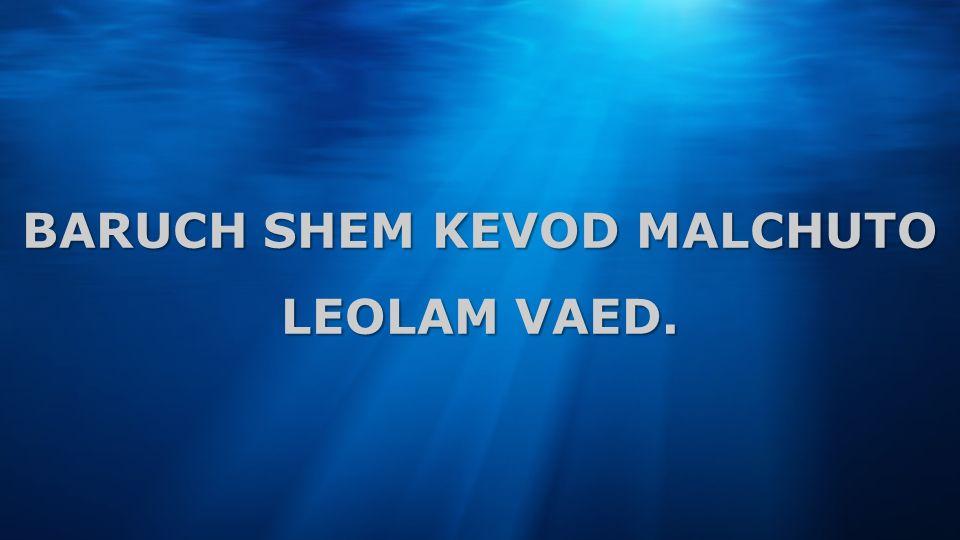 BARUCH SHEM KEVOD MALCHUTO LEOLAM VAED.