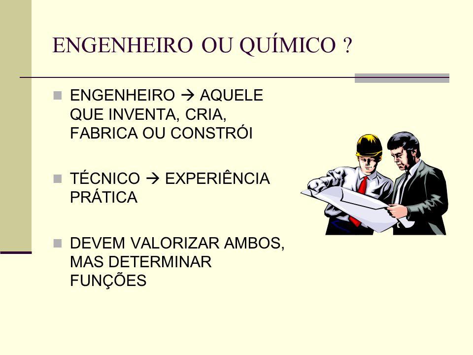 ENGENHEIRO OU QUÍMICO ENGENHEIRO  AQUELE QUE INVENTA, CRIA, FABRICA OU CONSTRÓI. TÉCNICO  EXPERIÊNCIA PRÁTICA.
