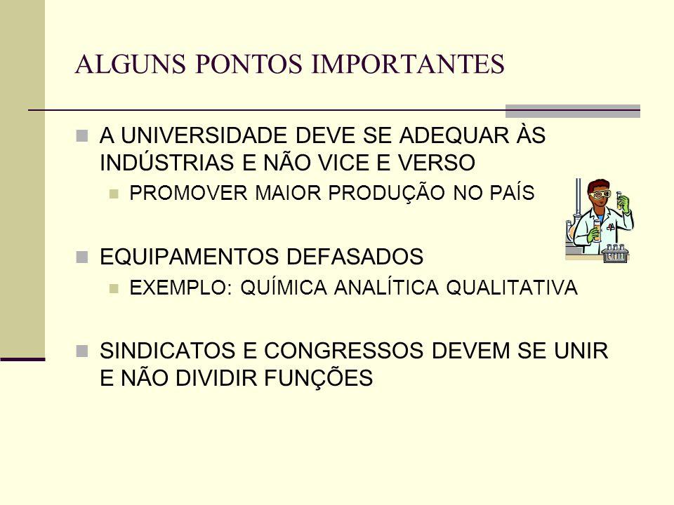 ALGUNS PONTOS IMPORTANTES