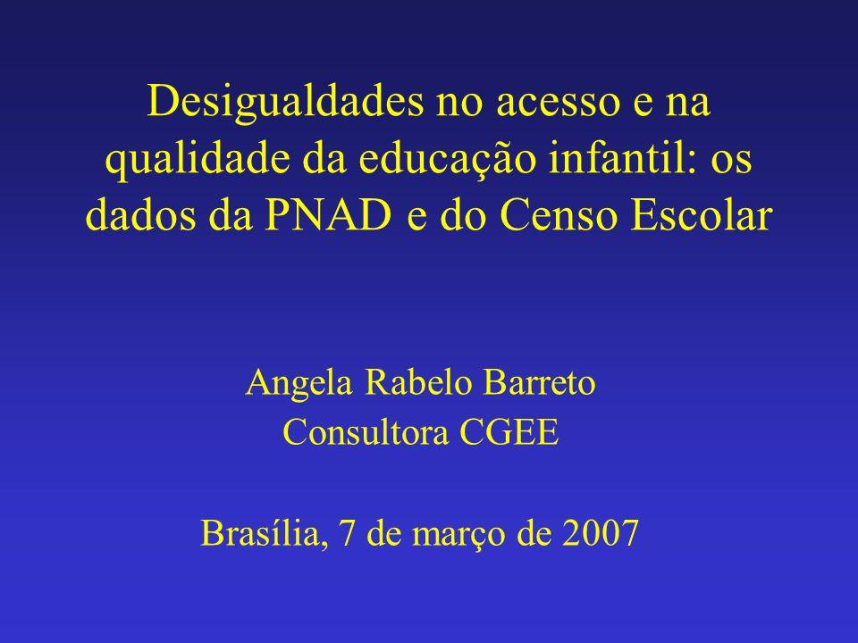 Desigualdades no acesso e na qualidade da educação infantil: os dados da PNAD e do Censo Escolar