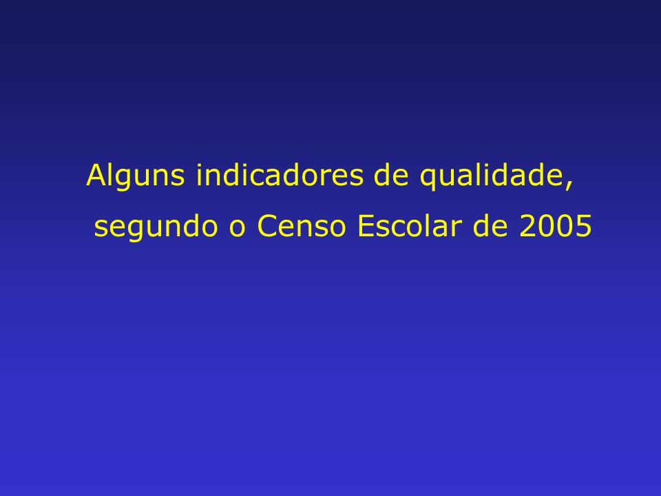 Alguns indicadores de qualidade, segundo o Censo Escolar de 2005