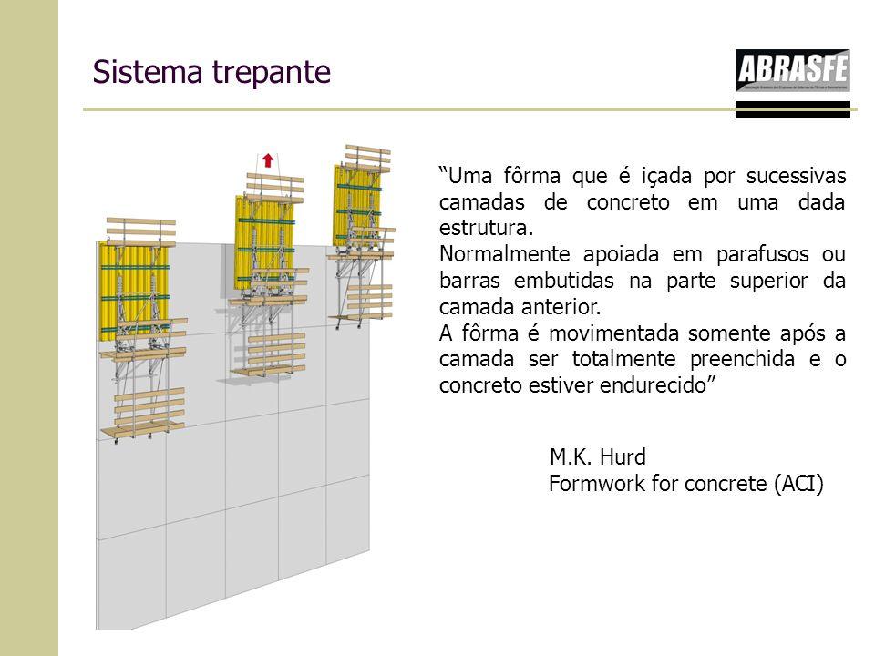 Sistema trepante Uma fôrma que é içada por sucessivas camadas de concreto em uma dada estrutura.