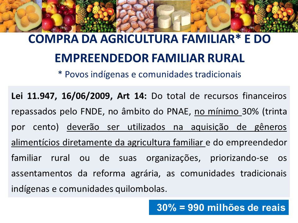 COMPRA DA AGRICULTURA FAMILIAR* E DO EMPREENDEDOR FAMILIAR RURAL