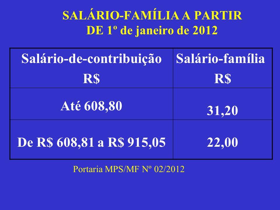 SALÁRIO-FAMÍLIA A PARTIR DE 1º de janeiro de 2012