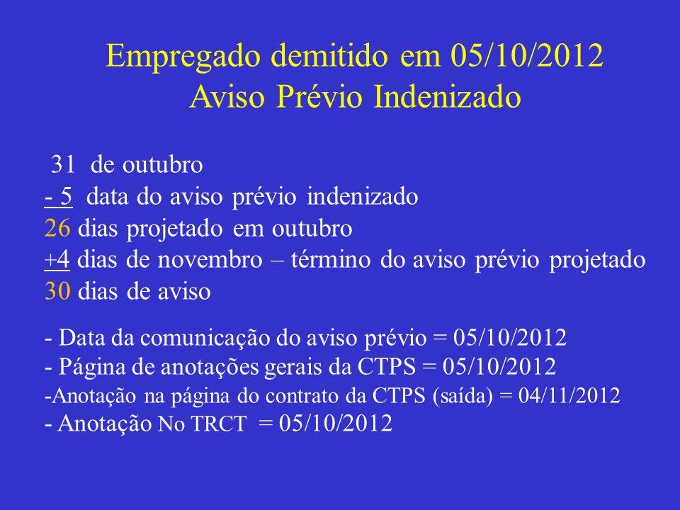 Empregado demitido em 05/10/2012 Aviso Prévio Indenizado