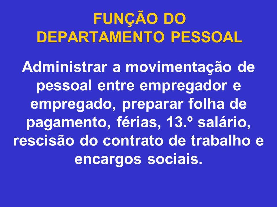 FUNÇÃO DO DEPARTAMENTO PESSOAL
