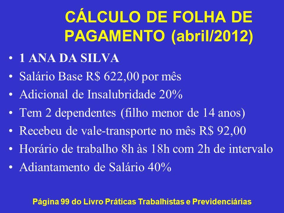 CÁLCULO DE FOLHA DE PAGAMENTO (abril/2012)