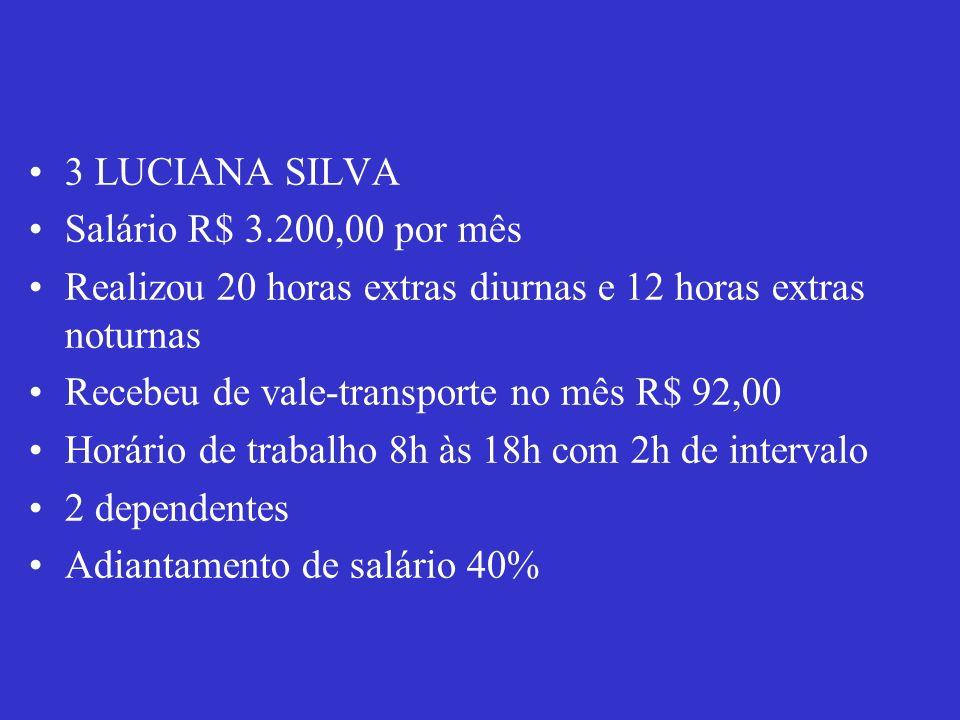3 LUCIANA SILVA Salário R$ 3.200,00 por mês. Realizou 20 horas extras diurnas e 12 horas extras noturnas.