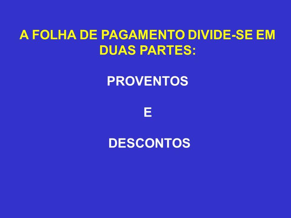 A FOLHA DE PAGAMENTO DIVIDE-SE EM
