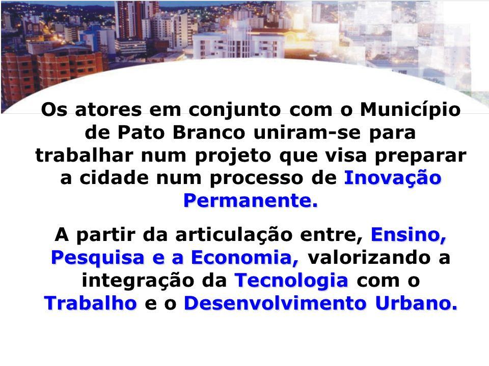 Os atores em conjunto com o Município de Pato Branco uniram-se para trabalhar num projeto que visa preparar a cidade num processo de Inovação Permanente.