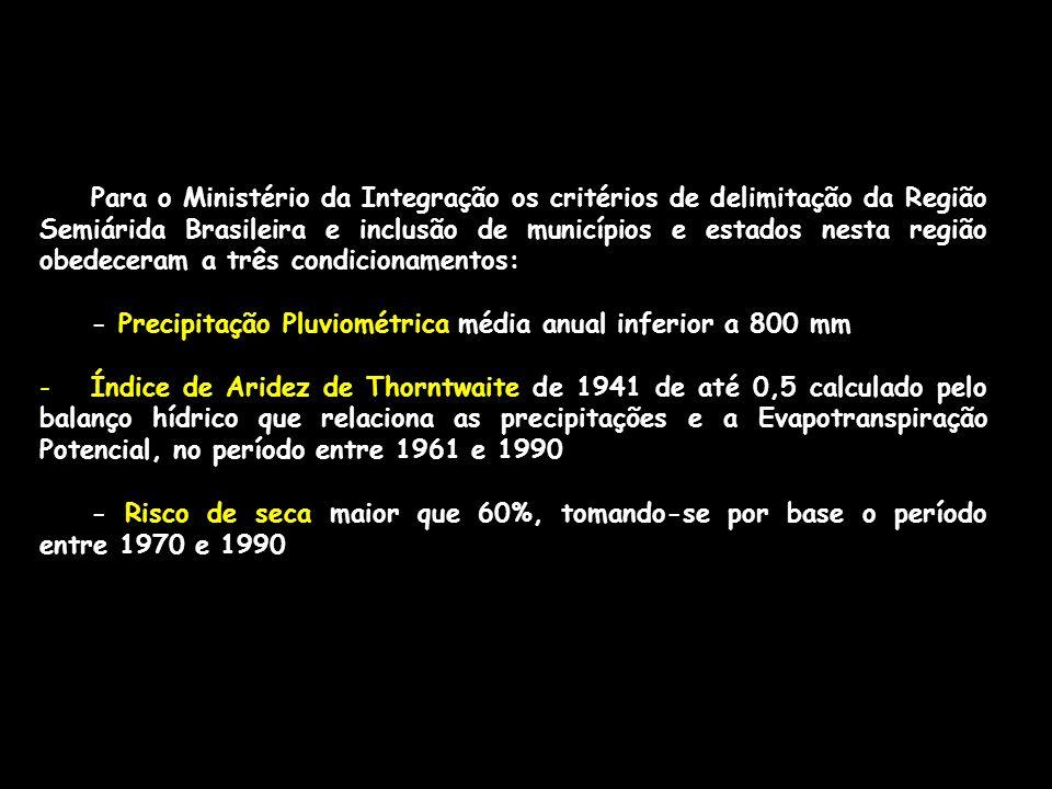 Para o Ministério da Integração os critérios de delimitação da Região Semiárida Brasileira e inclusão de municípios e estados nesta região obedeceram a três condicionamentos: