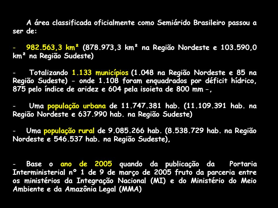 A área classificada oficialmente como Semiárido Brasileiro passou a ser de: