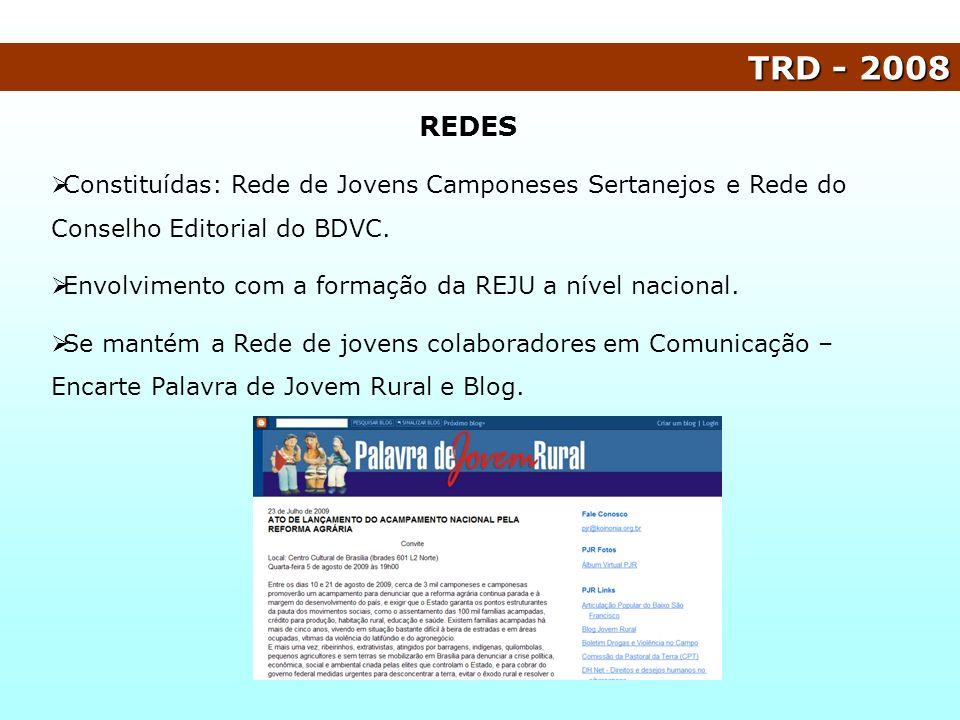 TRD - 2008 REDES. Constituídas: Rede de Jovens Camponeses Sertanejos e Rede do Conselho Editorial do BDVC.