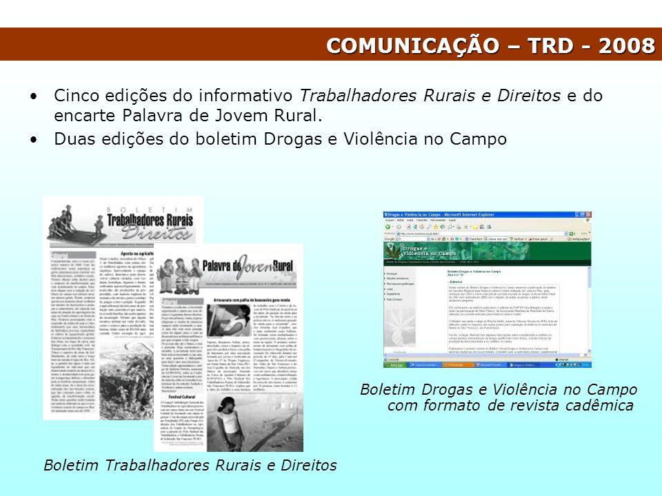 COMUNICAÇÃO – TRD - 2008 Cinco edições do informativo Trabalhadores Rurais e Direitos e do encarte Palavra de Jovem Rural.