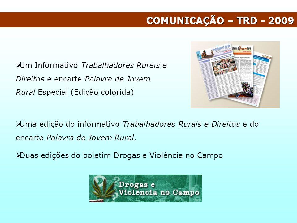 COMUNICAÇÃO – TRD - 2009 Um Informativo Trabalhadores Rurais e Direitos e encarte Palavra de Jovem Rural Especial (Edição colorida)